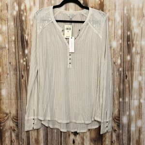 Lucky Brand Creme Henley style top long sleeve